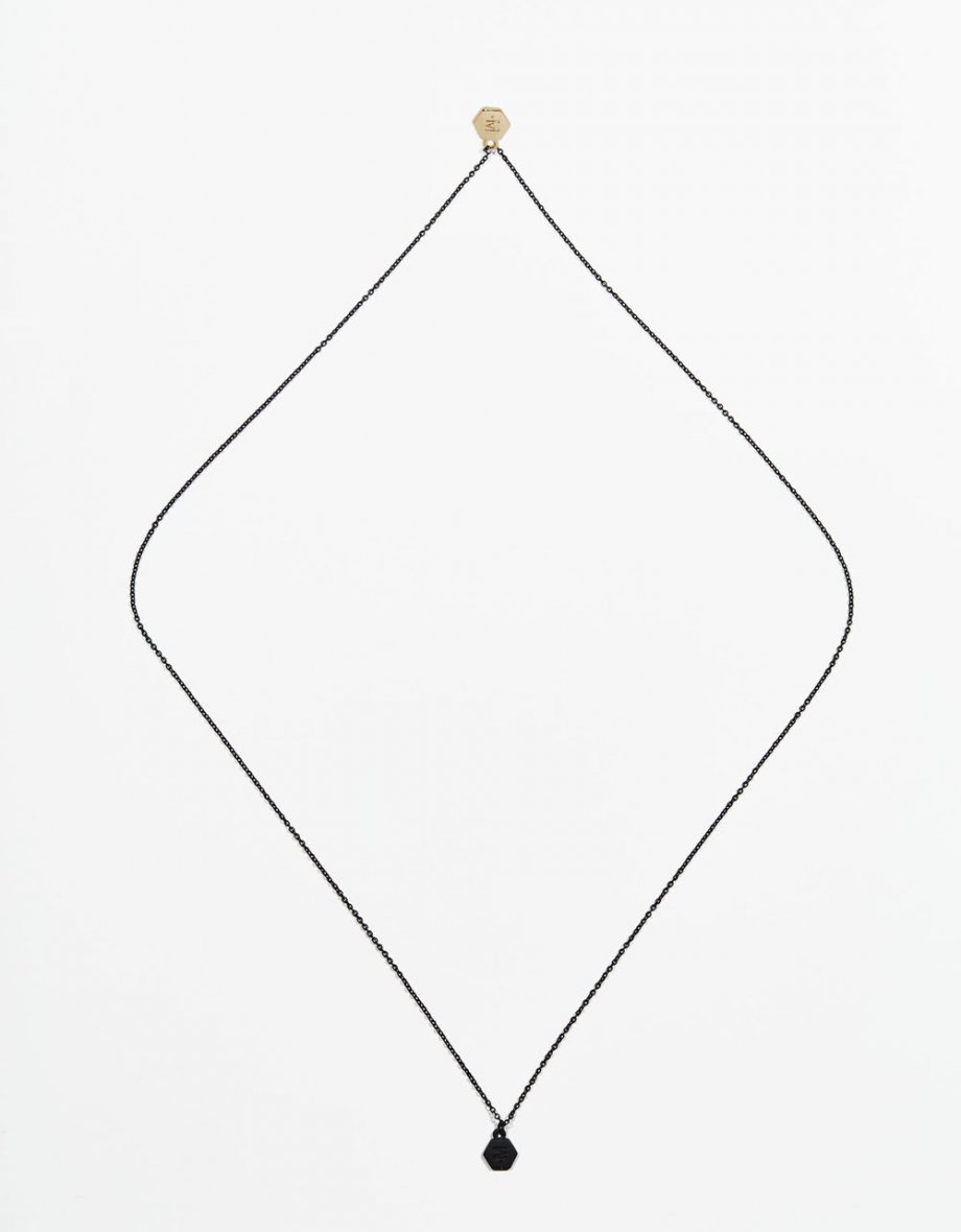 long necklace black matt chain & double logo
